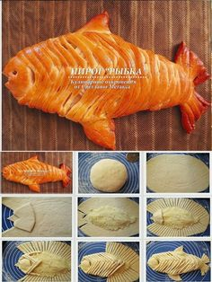 baked fish bread just a picture for inspiration Cute Food, Good Food, Yummy Food, Bread Recipes, Cooking Recipes, Pan Relleno, Bread Shaping, Bread Art, Bread And Pastries