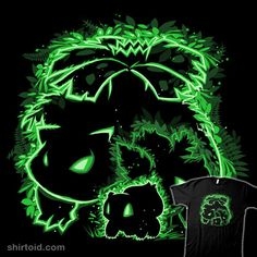 """""""Evolution of Grass"""" by XD Threads. Illustrated by Pertheseus. Grow bigger and stronger with every day.  Bulbasaur, Ivysaur, and Venusaur. [Sold at Shark Robot]"""
