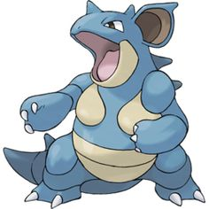 Nidoqueen, the Drill Pokémon. Nidoqueen is a large, bipedal blue Pokémon with distinct reptilian features. Its lower jaw, chest plates and lower torso are cream-colored. It has a horn on its forehead, narrow black eyes, and large, spiny ears. There are toxic spikes running down the length of its back, and its body in encased in extremely hard scales that serve as excellent protection from any attack and stand up when Nidoqueen is excited or provoked.