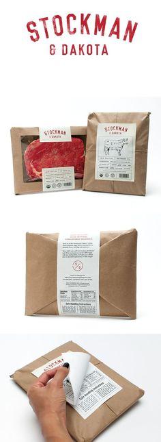finishing touches: Stockman & Dakota Beef by Gabby Nguyen Cool Packaging, Food Packaging Design, Paper Packaging, Packaging Design Inspiration, Brand Packaging, Packaging Ideas, Coffee Packaging, Bottle Packaging, Food Branding