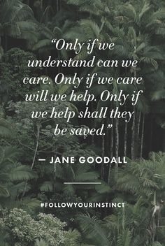 """""""Only if we understand can we care. Only if we care will we help. Only if we help shall they be saved."""" - Jane Goodall #followyourinstinct #EarthDay"""
