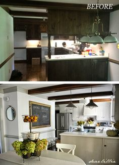 An Oversized Chalkboard and Bench In the Kitchen. by Dear Lillie ugly space blocking cabinets removed make an open and inviting kitchen that doesn't trap the cook in a cave Kitchen Redo, Kitchen Dining, Kitchen Makeovers, Kitchen Storage, Kitchen Ideas, 10x10 Kitchen, Rental Kitchen, Kitchen Counters, Kitchen Paint
