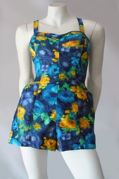 Genuine vintage cotton playsuit or swimsuit made in Hawaii in colourful pure cotton floral print fabric. Vintage Clothing Online, Floral Print Fabric, Vintage Swimsuits, 1950s Fashion, Short Girls, Playsuit, Printing On Fabric, Vintage Outfits, Feminine