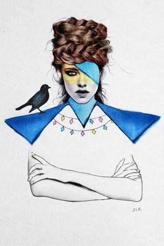 Les filles aux allures de pin-up de l'illustratrice Jenny Liz Rome mélangent les genres ! Et les techniques ! Aquarelle, crayons de couleur, encre, collage tout les moyens sont bons pour peindre la femme version pop et moderne.