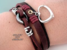Silver heart charm leather bracelet