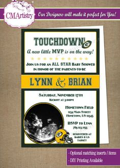 Personalized NFL Packers Football Baby Shower Photo Invitations - DIY Printable