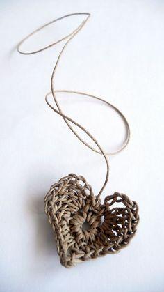 Hemp crocheted heart ♡