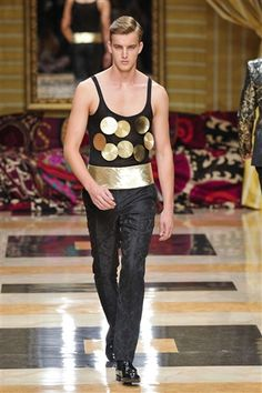 Meet Fashion's 'Magic Mikes': Feast Your Eyes on the Nearly Naked Models of Men's Fashion Week: Gold paillettes for flair at Carlo Pignatelli.