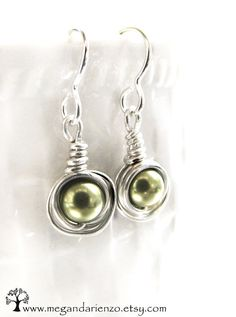 Olive Green Pearl Earrings Simplicity Swarovski Crystal And Argentium Silver On Etsy 26 00