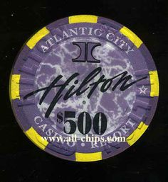 Atlantic City Casino Chip of the Day is a HAC-500 $500 Hilton Atlantic City 1st issue