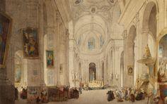 J.S. Davis, 'Interior of the Chruch of Saint-Sulpice, Paris', c. 1834. Cat. 34. (c) The Trustees of the British Museum.