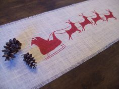 Christmas Table Runner with Santa and by NorthCountryComforts, $24.00 pillows and good stuff for holidays :)