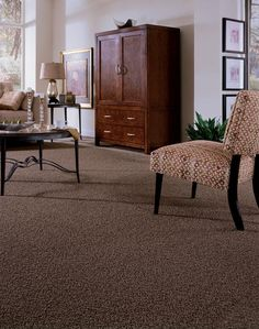 In a room full of neutrals, the texture of a twist carpet creates interest. Room Colors, Rugs On Carpet, Carpet Colors, Grey Carpet, Home Accessories, Diy Carpet, Bedroom Carpet, Bedroom Design, Frieze Carpet