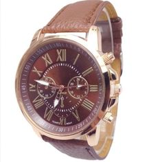 Brown&Gold Pebbled Leather Watch Brand new brown pebbled faux leather watch. Side dials are for show except for middle one which is used to adjust time. Also available in other colors Accessories Watches