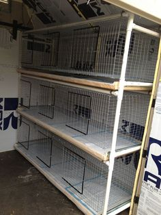 """Each hole is 24x24 The cages themselves hang from the PVC which allows the sides to extend further from the walls of the cages. The pans are made from wood, covered in a heavy gauge plastic to protect them. They are a single pan per level to keep rabbits from peeing in between trays onto rabbits below. They are attached by drawer slides. To clean them I just pull out the """"drawer"""" lift out puppy pads, wipe down the plastic, replace the puppy pads or incontinence pads."""