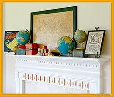 Adapt this to a travel mantel for Summer. love the vintage globes! back to school mantel Apple Decorations, Harvest Decorations, School Decorations, School Themes, School Parties, School Fun, Back To School, Preschool Tables, Apple Classroom