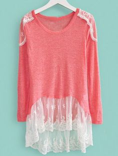 Dark Pink Round Neck Long Sleeve Lace Sweater - Sheinside.com