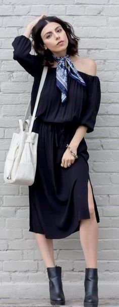 #spring #summer #street #style #outfitideas | BTS Midi Black Dress