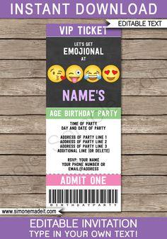 Emoji Party Ticket Invitations Template | Emoji Theme Birthday Party | DIY Editable & Printable Invite | INSTANT DOWNLOAD via simonemadeit.com