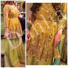 To order email at clothing.dahlia@gmail.com @dahlia_bridals Pakistani Mehndi Dress, Bridal Mehndi Dresses, Desi Wedding Dresses, Pakistani Fashion Party Wear, Pakistani Wedding Outfits, Pakistani Couture, Indian Bridal Fashion, Pakistani Dresses, Mehendi