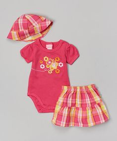 Look what I found on #zulily! Pink Butterfly Floral Bodysuit Set by Duck Duck Goose #zulilyfinds