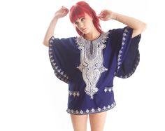 vintage 70s angel sleeve ethnic DASHIKI mini CAFTAN