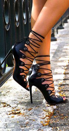 Azzedine Alaia ~ Leather High Heel Strappy Sandal, Black