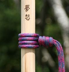 hiking stick with prusik knot
