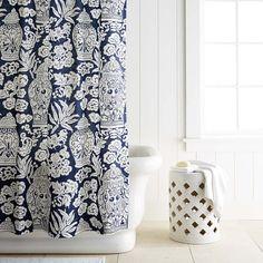 Printed Linen Ginger Jar Shower Curtain #williamssonoma
