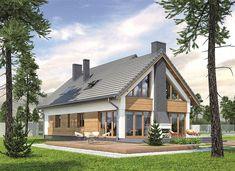Zdjęcie projektu Murator M210 Jasna przestrzeń WAJ3695 Barn Houses, Dream Houses, Home Fashion, Open House, Attic, House Plans, New Homes, Exterior, Cabin