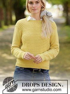 Free cute sweater knitting pattern instant download Jumper Patterns, Drops Patterns, Sweater Knitting Patterns, Crochet Patterns, Double Pointed Knitting Needles, Circular Knitting Needles, Knitting Gauge, Free Knitting, Drops Design