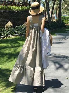 Women Cotton Linen Ruffles Sleeveless New Straps Casual Dress – ebuytrends Plus Size Summer Dresses, Casual Summer Dresses, Casual Dresses For Women, Clothes For Women, Grey Fashion, Womens Fashion, Steampunk Fashion, Gothic Fashion, Korean Fashion