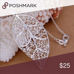 Top Selling Elegant Sterling Silver Leaf Necklace Brand New .925 Stamped #N042 Jewelry Necklaces
