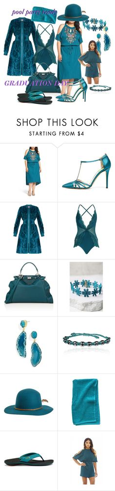 """""""pool party ready"""" by caroline-buster-brown ❤ liked on Polyvore featuring Democracy (DJD), Salsa, Hervé Léger, Zimmermann, Fendi, LULUS, BaubleBar, Brixton, Room Essentials and OluKai"""