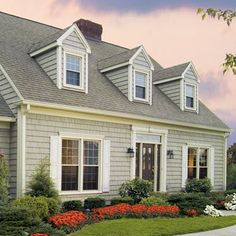 Cape cod built with vinyl and other polymeric siding traditional-exterior Shingle Siding, House Siding, House Paint Exterior, Exterior House Colors, Exterior Design, Exterior Shutters, Vinyl Siding Styles, Vinyl Siding Colors, Style At Home