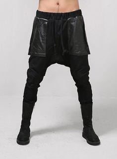 Drop Crotch Leather Mix Long Ribbed Woolen Slacks $75.60 #Fashion #Street #Style #DropCrotch #Leather #Black #Sweats