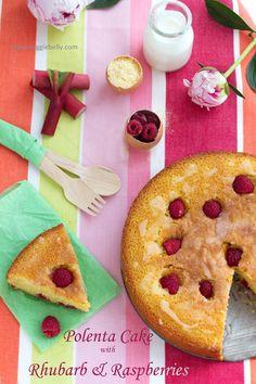 Rhubarb Raspberry Polenta Cake