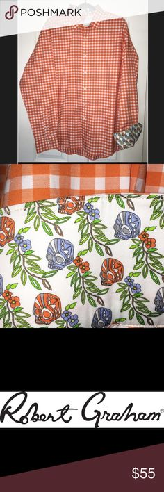 Robert Graham Dress Shirt Robert Graham men's dress shirt. Size XL. Color: Orange/ White checkers. Excellent condition, never worn. Has original tag. Other Robert Graham and other designer dress shirts also available. Robert Graham Shirts Dress Shirts
