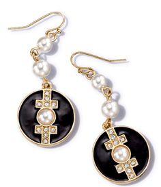 Deco FAB Earrings $7.99 - hip, black and gold, trendy! https://pylesvillestore.avonrepresentative.com #avon #avonpylesvillestore #jewelry