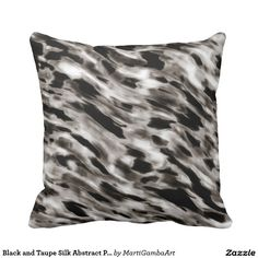 Black and Taupe Silk Abstract Pillow