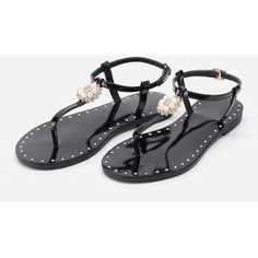 SheIn(sheinside) Faux Pearl And Rhinestone Detail Flat Sandals ($28) ❤ liked on Polyvore featuring shoes, sandals, black flat sandals, black strappy shoes, black strappy sandals, strap sandals and rhinestone flat sandals