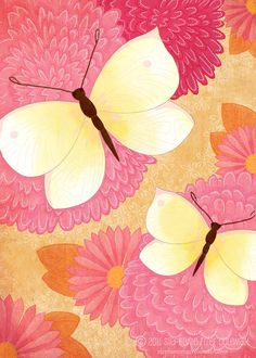 Pink and yellow - butterflies and flowers by StephanieFizer
