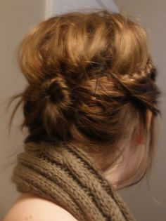 messy bun with bangs braided back=my everyday look