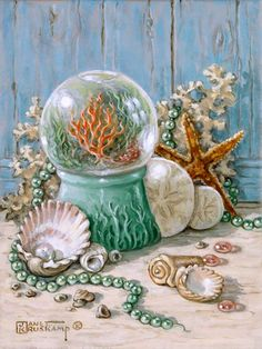 Sea Shell Collection 3, another fabulous still life from Janet Kruskamp. This painting continues the Sea Shell Collection from number one an...