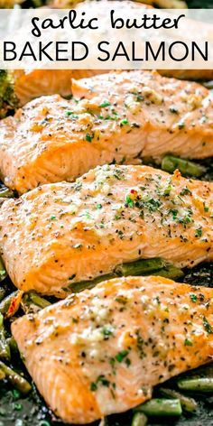This Garlic Butter Baked Salmon recipe makes tender salmon brushed with an incredible garlic butter sauce! Baked on a sheet pan with your favorite veggies, this easy salmon recipe takes just a few minutes to prep and makes a perfect weeknight meal! Delicious Salmon Recipes, Easy Salmon Recipes, Best Salmon Recipe Baked, Healthy Seafood Recipes, Fish Recipe Baked, Salmon Recipe For One, Diabetic Salmon Recipe, Recipes With Fish, Dairy Free Salmon Recipes