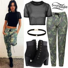Camila Cabello posted a picture a few days ago wearing an Airtex Crop Tee ($26.00) and Camo Print Joggers ($58.00) both by Topshop, a Forever 21 Faux Pearl Pendant Choker ($4.90 – similar style) and Timberland Glancy 6″ Boots ($130.00).