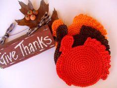 Crocheted Thanksgiving Turkey Cotton Dishcloths no pattern