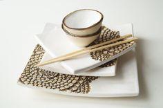 Placas de cerámica servir sistema cinco pieza que sirve por bemika