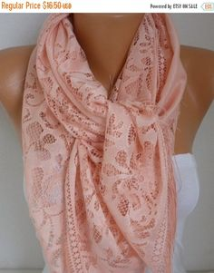 Salmon Tulle ScarfFall Summer Scarf Teacher Gift Cowl by fatwoman