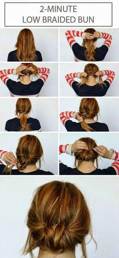 2 minute low braided bun